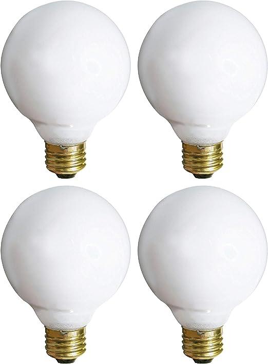 (4 Pack) G25 Incandescent Incandescent Light Bulb 2700K Soft Light, Decorative Globe Light Bulbs,E26 Medium Base, Perfect for Pendant Bathroom/Vanity Mirror Makeup, Dimmable. (White-Finish, 25-Watt)