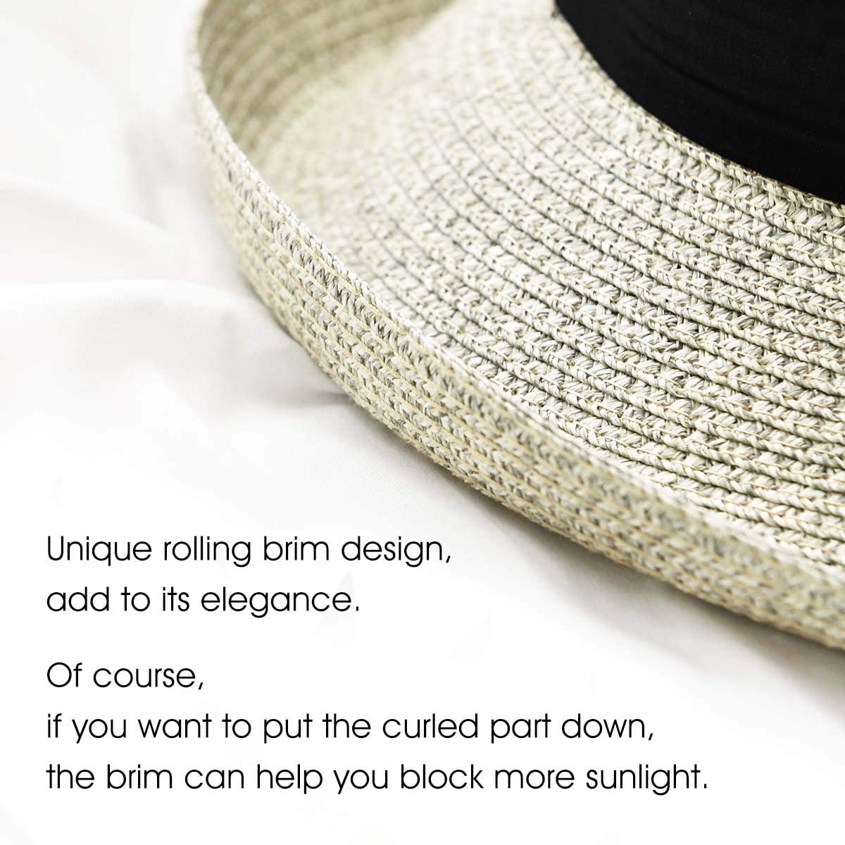 Summer Straw Sun Hats for Women Beach Foldable Packable Sun Hats for Travel UPF50 Protection UV Hat.