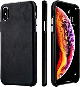 TOOVREN iPhone Xs Max Leather Case iPhone Xs Max Genuine Leather Cover Case Protective Ultra Thin Vintage Anti-Slip Grip Shell Hard Back Cover for Apple iPhone Xs Max 6.5 Inch (2018) Black