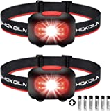 HOKOILN LED Headlamp Flashlight 2PACK - Running, Camping and Outdoor Headlamps - 5 Modes Adjustable Head Lamp with Red COB Safety Light for Adults and Kids, 3 AAA Alkaline Batteries (Included)