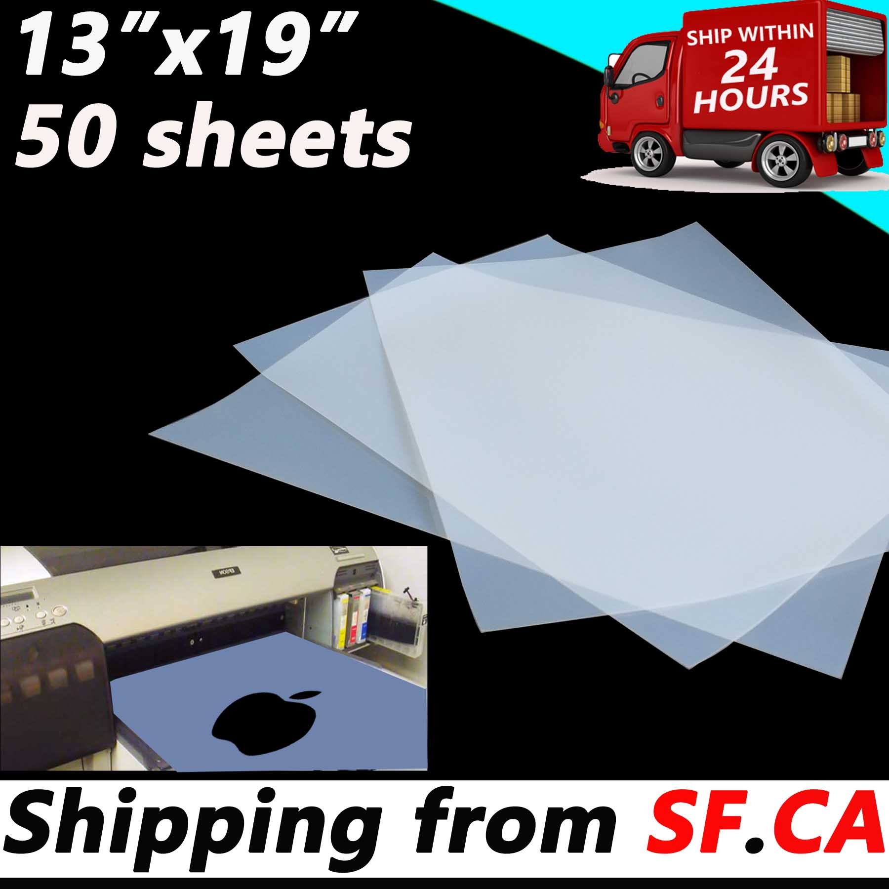 (50 Sheets,13''x19'') Waterproof Inkjet Silk Screen Printing Transparency Film by Tiger-Hoo(USA)