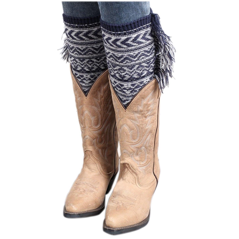 1 coppia di donne signore inverno uncinetto a maglia scaldamuscoli nappa stivali polsini copertura c...