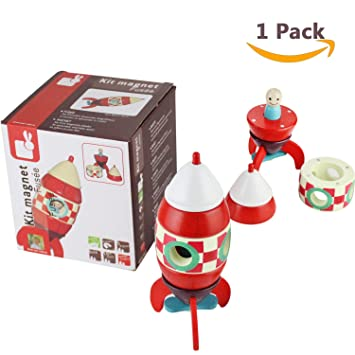 Sealive Magnetic Kit Rocket Wooden Rocket Space Toys For Kids Toddlers Figurine Playset