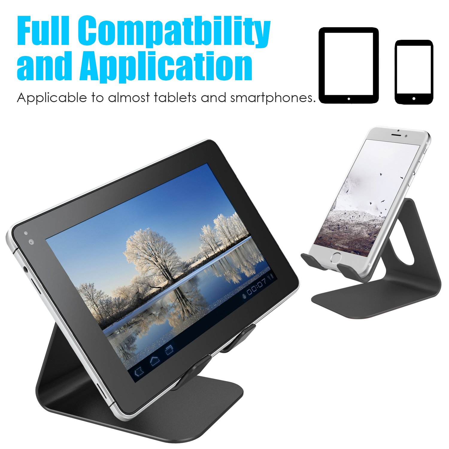 Barsone Tablet Stand, Cell Phone Stand, Universal Desktop mobile phone Holder, Aluminium Metal Mobile Phone Tablet PC stand Table Desk Mount Stand Holder (Black)
