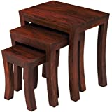 Santosha Decor Pre Assemble Sheesham Wood Stool Set Of 3 Nesting Bedside Table - Red Mahogany Finish (Special PU Polish Finishing)