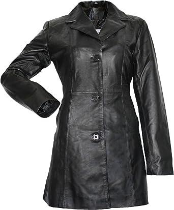 Damen Ledermantel Trenchcoat echtleder Mantel aus Lammnappa Leder Schwarz   Amazon.de  Bekleidung c9941b252e