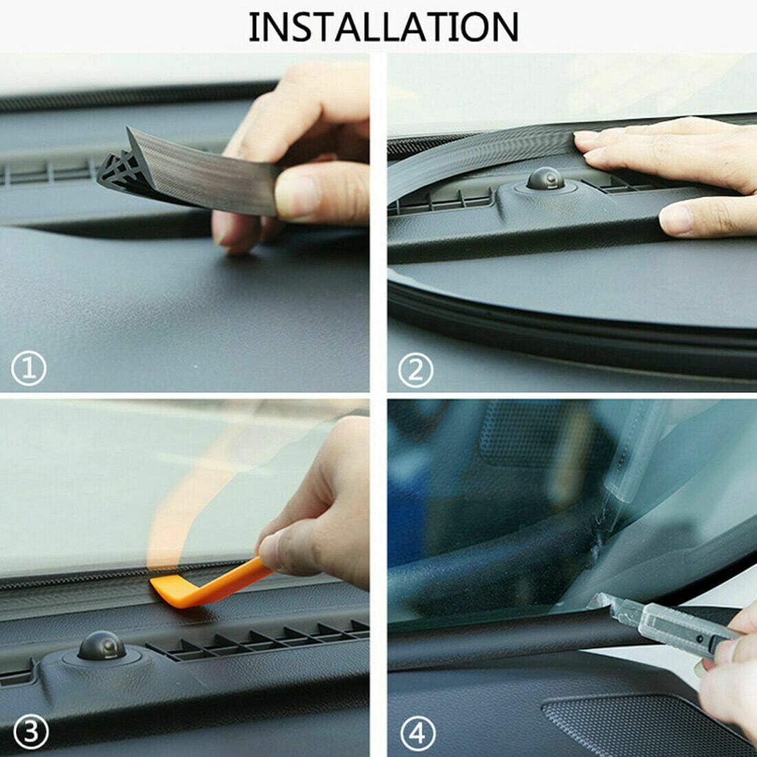 a prueba de polvo y al polvo borde de goma negro ajuste de parabrisas de coche para aislamiento de ruido resistente al viento Tira de sellado de coche de 1,6 m