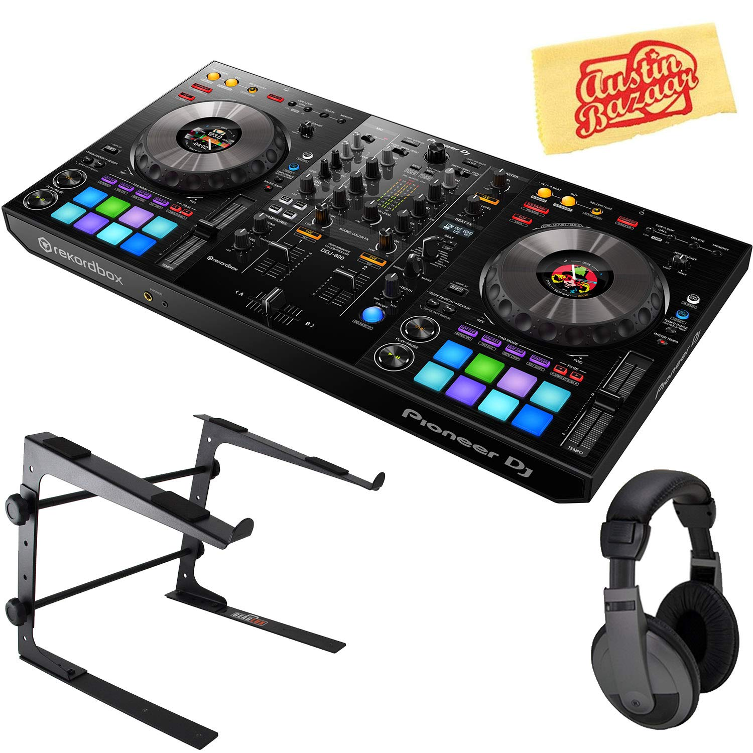 and Austin Bazaar Polishing Cloth Headphones Pioneer DJM-S3 2-Channel Mixer for Serato DJ Bundle with Stand