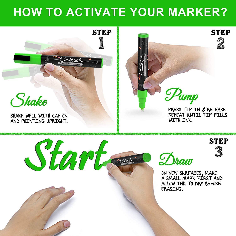 Metallic Chalk Markers - Pack of 10 Liquid Chalk Pens - for Chalkboard, Blackboard, Cafe Menu, Business, Window - Wet Wipe Erasable - 6mm Reversible Bullet & Chisel Tip by Chalkola (Image #4)