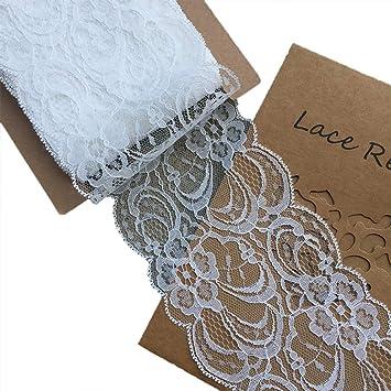 Amazon.com: lacerealm Raw ribete de patrón floral blanco ...