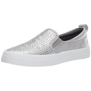 Sperry Womens Crest Twin Gore Woven Emboss Sneaker, Silver, 8