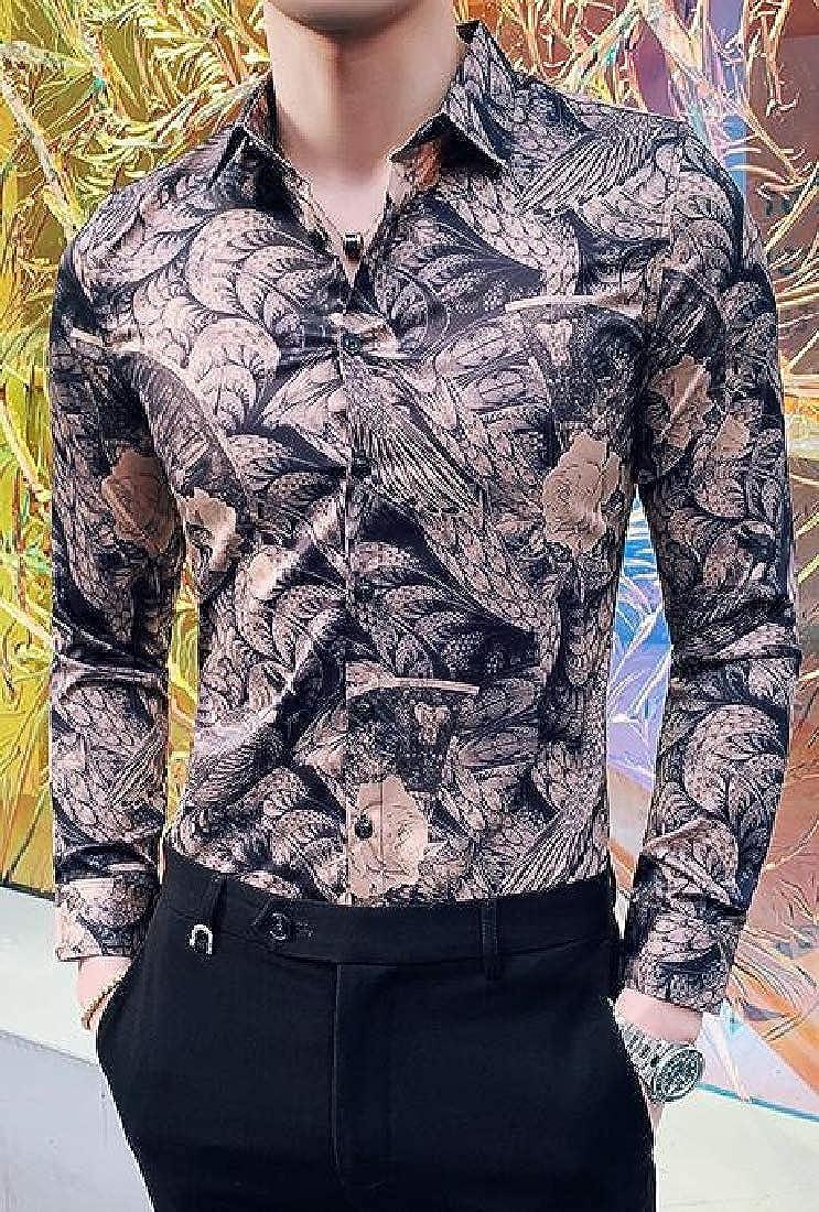 Domple Men Floral Regular Fit Long Sleeve Trendy Club Button Down Dress Shirts