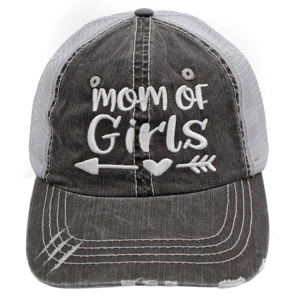 74e7698fa98fd R2N fashions Embroidered Mom of Girls Women s Trucker Hats   Caps  (Grey White)