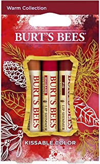 product image for Burt's Bees Kissable Color Holiday Gift Set, 3 Lip Shimmers in Gift Box, Warm Collection in Peony, Fig and Rhubarb