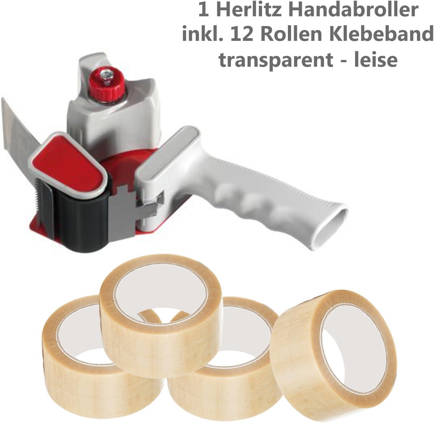 1 Abroller Herlitz + 1 Rolle Klebeband transparent Herlitz 8842700 Packbandabroller f/ür Grossrollen Spar-Set