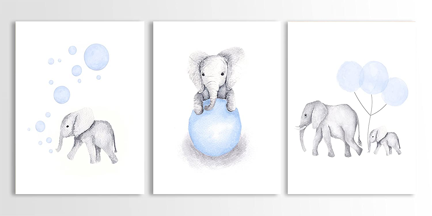 Amazon.com: Elephant Nursery Decor, Elephant Wall Art, Baby Boy Art ...