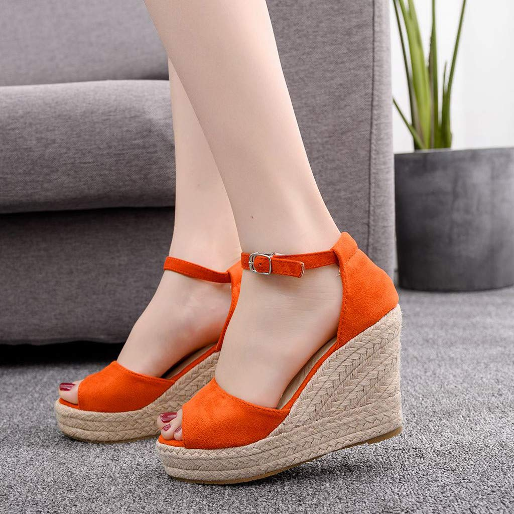 Wedge Sandals for Women,Summer Women Platform Shoes Ankle Strap Espadrille Wedge Heel Sandals (US:6, Orange) by Yihaojia Women Shoes (Image #2)