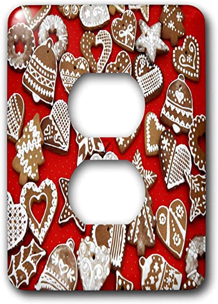 3drose Lsp 6212 6 Christmas Gingerbread Cookies 2 Plug Outlet Cover Multicolor Switch Plates Amazon Com