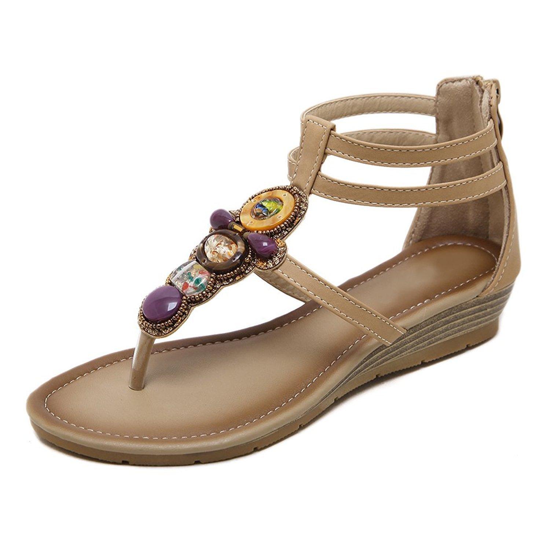 Tohoykot Women's Bohemian Glitter Rhinestone Flat Sandals T-Strap Flip Flops Beach Shoes B07BRP48B8 9 B(M) US|Apricot