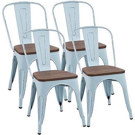 Amazon.com: Furmax - Silla de comedor de metal con asiento ...