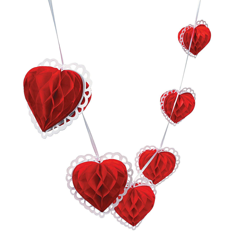 Amazon.com: Fun Express Tissue Paper Valentine Heart Garland Novelty: Toys  U0026 Games