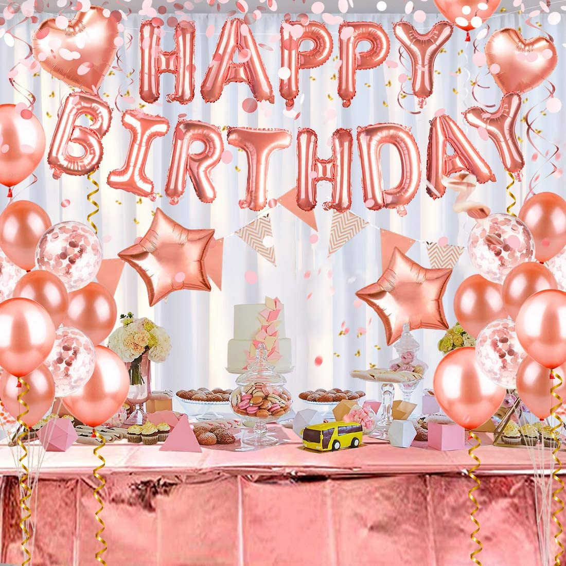 HAYOSNFO Birthday Balloons Party Decorations, Happy Birthday Banner Decor, Pink and Gold Ballons for Birthday Party Supplies Set 60pcs