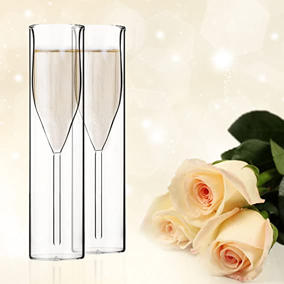 Mother's Day Gift Borosilicate Double Wall Champagne Flutes