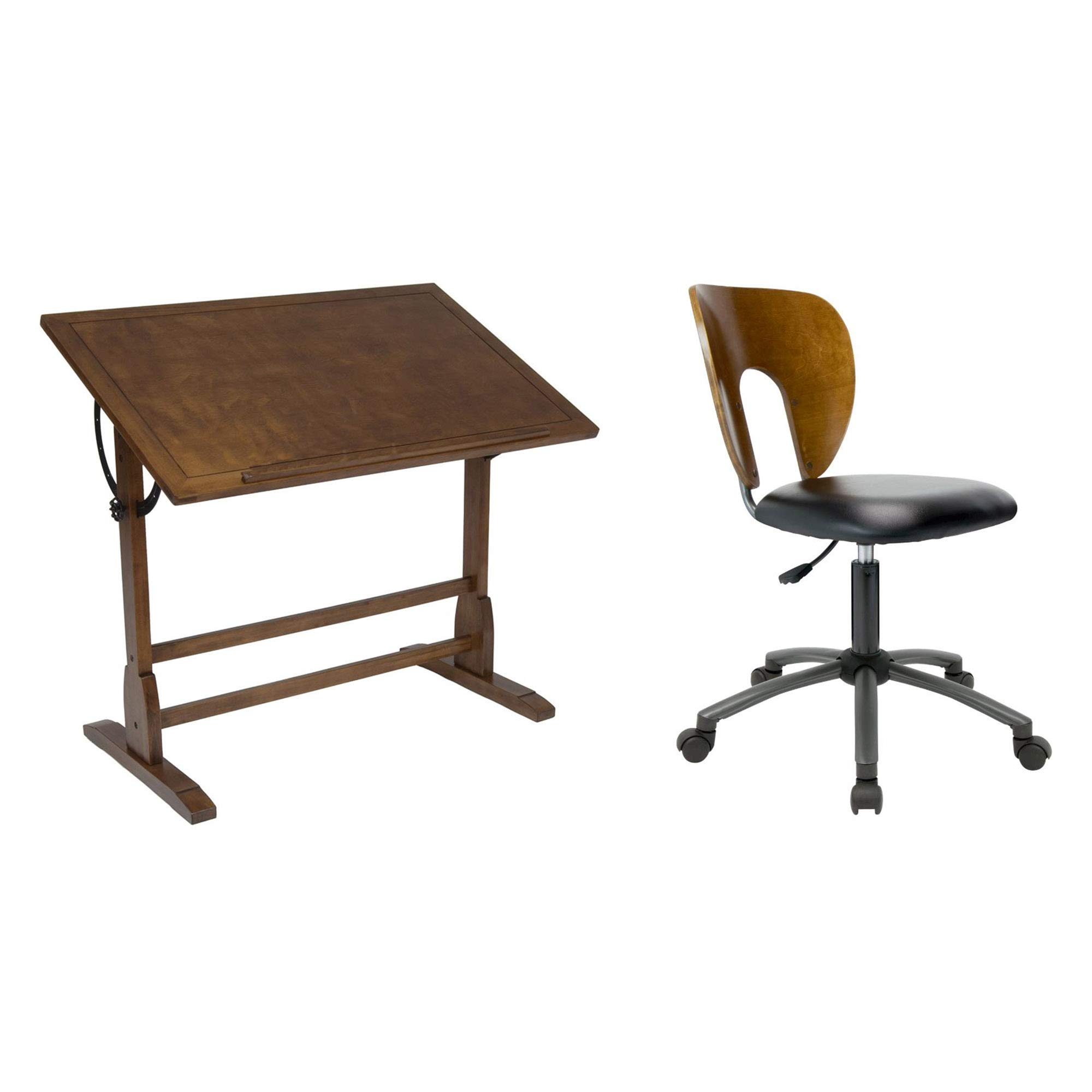 Studio Design 42'' Vintage Drafting Table + Studio Designs Ponderosa Office Chair