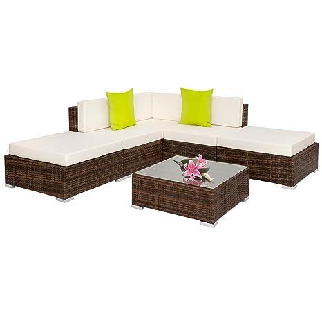 SSITG Alu Poly Rattan salon de jardin lounge en rotin ...