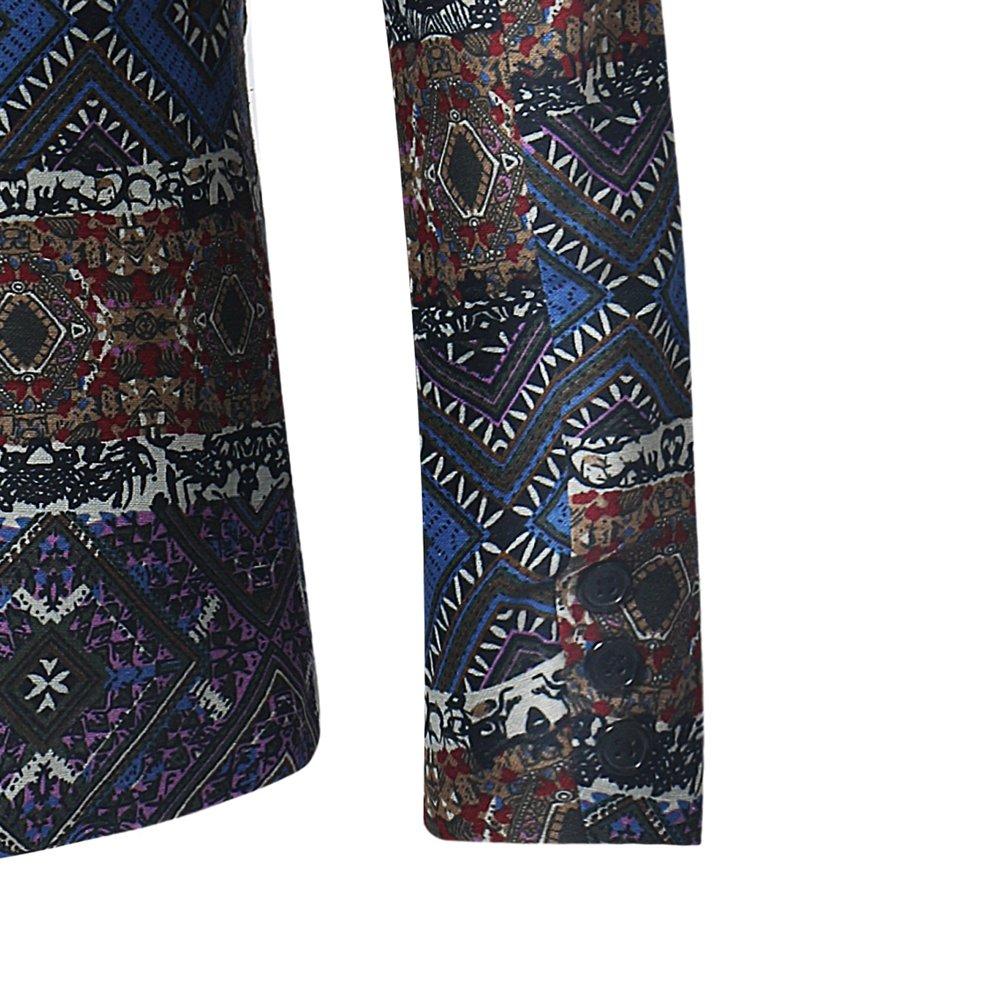 Giacca Uomo di Etnica Blazer Slim da Stampata Fit Elegante Vestito 7pH5r7qw