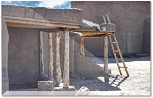 Part of an Ancient Native American Adobe Pueblo with Traditional Southwest Building Materials & Techniques A-9014539 (6x4 Acrylic Photo Block Gallery Quality)