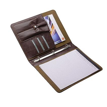 b49f9c1dcad4 Amazon.com : Leather Padfolio with 3 Ring Binder, Organizer Binder ...