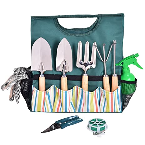 USA_BEST_SELLER 10 Pcs Gardening Planting Hand Tools Set Carry Bag Best  Garden Tools For Sale.