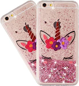 HMTECHUS iPhone 6S Case Glitter Liquid Sparkle Floating Shiny Quicksand Clear Soft TPU Silicone Shockproof Protective Bumper Thin Cover for iPhone 6 / 6S 4.7 inch Bling Eyelash Unicorn XY
