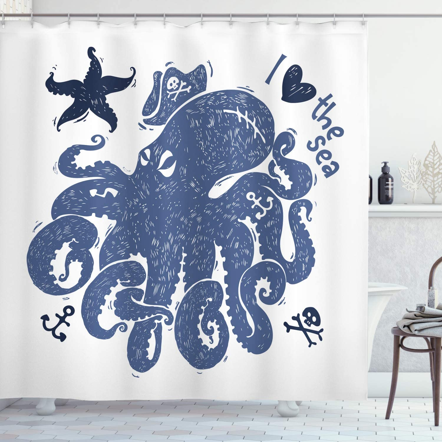 Ambesonne Octopus Shower Curtain, Nautical Theme Image of a Pirate Octopus with Anchors and Starfish Retro, Cloth Fabric Bathroom Decor Set with Hooks, 75