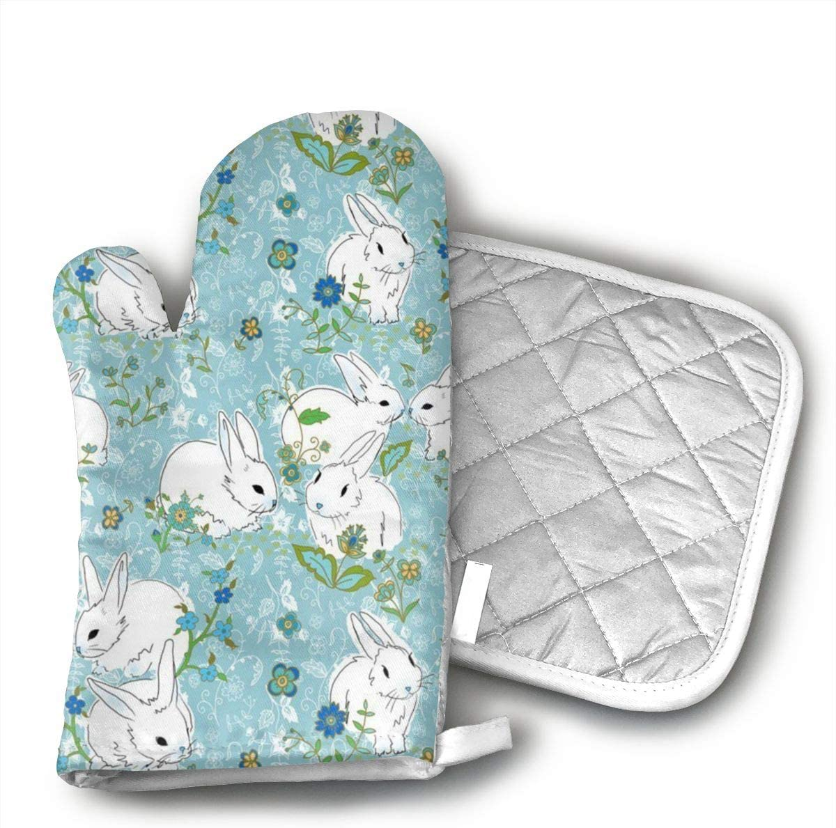Jiqnajn6 Love Bunny Rabbit Oven Mitts,Heat Resistant Oven Gloves, Safe Cooking Baking, Grilling, Barbecue, Machine Washable,Pot Holders.