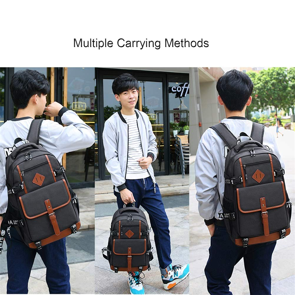 School Bag,Business Travel Backpack, 15.6 in Laptop Backpack with Thick Compartment, Anti Theft Waterproof Computer Backpack Retro College Backpack for Teen Girls/Boys /Men and Women (Black)