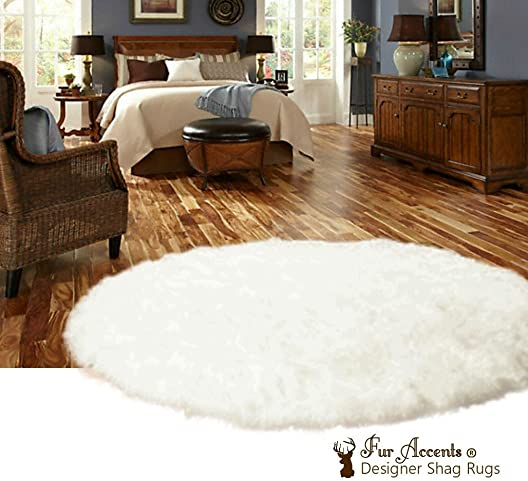 Fur Accents Faux Sheepskin Area Rug Plush Shag Faux Fur Round Pelt Design White Throw Rug 10 Diameter