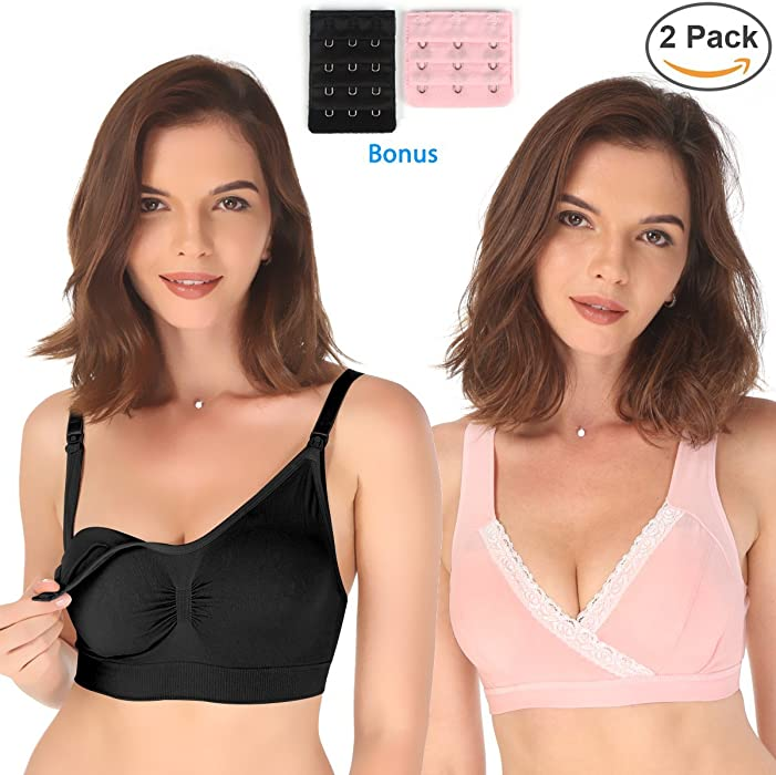 db6b8f3e1533e Nursing Bra Shinymod Maternity Wireless Seamless Padded Bras 2 Packs  Breastfeeding Push Up Brassiere   2
