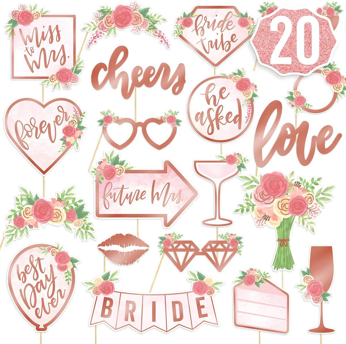 Fetti Bachelorette Party Decorations Rose Gold Glitter Kit xo Bridal Shower S