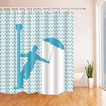 NYMB Abstract Man With Umbrella Avoid Raindrop Shower Curtain Waterproof 69X70 Inches Mildew Resistant Polyester Fabric