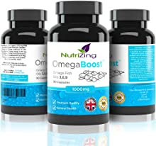 ★ NutriZing's Omega 3 6 9 Triple Strength Fish Oil Complex. Contains Flaxseed Oil, Sunflower Oil, EPA & DHA. 90 capsules bottle and 1000mg for Women & Men. High Strength Softgels Made in the UK. 100% Money Back Guarantee. Essential Oils Supplement for Immune System. Blend of Omega369 in one capsule