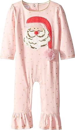3610f9baa6e Amazon.com  Mud Pie Womens Christmas Santa Ruffle Long Sleeve One-Piece  Playwear (Infant)  Clothing