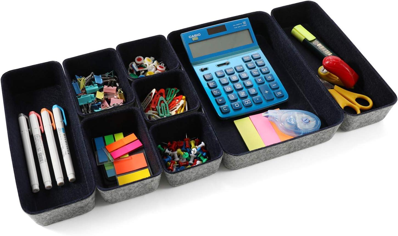 Welaxy Office supplies Drawer organizers shallow trays storage bins drawers dividers storage bin, Pack -8 (Navy)