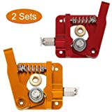 Anpro Two Sets of Upgrade 3D Printer Parts, MK8 Extruder Aluminum Alloy Block Bowden Extruder 1.75mm Filament for Creality 3D Ender 3,CR-7,CR-8, CR-10, CR-10S, CR-10 S4, and CR-10 S5 (Color: Red and Gold, Tamaño: 2 Sets)