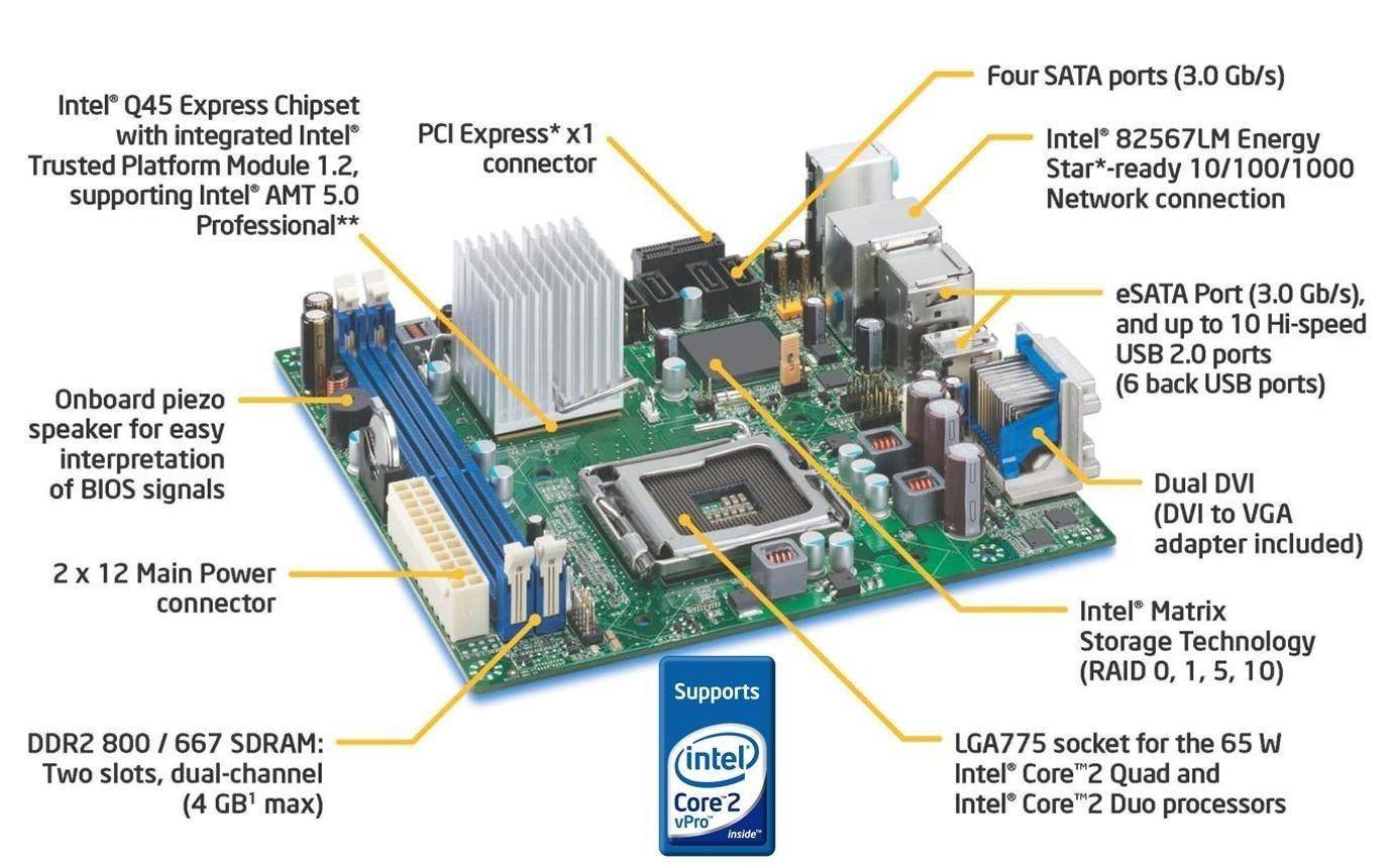Intel Blkdq45ekla10 Desktop Board Dq45ek Internal Usb Motherboard Plug Wiring Diagram La10 Executive Series Mini Itx Lga775 Socket Q45 Computers Accessories