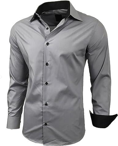 Hombre Contraste Basic Camisas Business Ocio Manga Larga ...