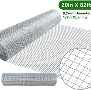 Amagabeli 20in X 82ft Hardware Cloth 1/2in Square Mesh Hardware Cloth Hot-dipped Galvanized Welded Wire Mesh Fencing Wire Diameter 0.7mm Wire Chicken Coop for Vegetables Garden Fruits Animal Enclosure