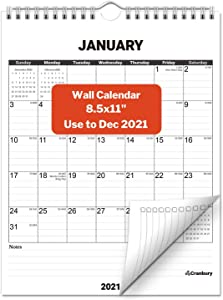 CRANBURY Small Vertical Wall Calendar 2020-2021 (Black), Hanging Monthly Wall Calendar, 8.5x11 Inches, Use Now to December 2021, School Year Academic Calendar, Bonus Stickers Included