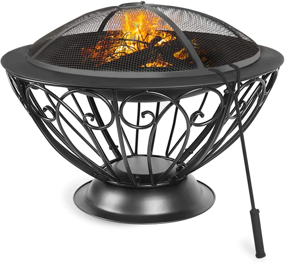 Lovinouse 29 Inch Outdoor Fire Pit, Large Round Bonfire Wood Burning Steel Firepit with Mesh Spark Screen Cover, Metal Grate, Fireplace Poker for Camping, Picnic, Patio, Backyard